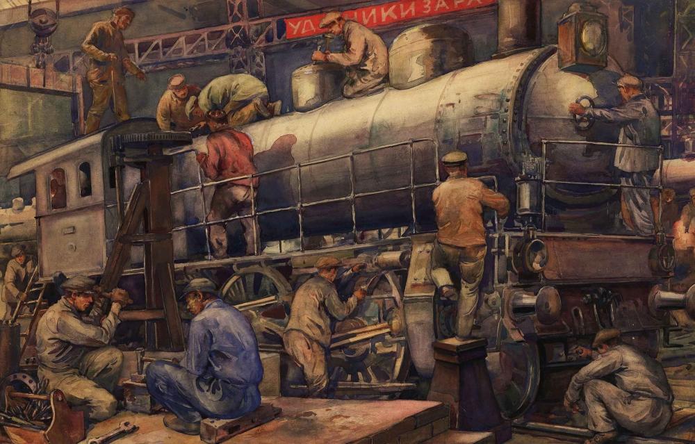 Акварель «Паровозный завод. Ярославская железная дорога»