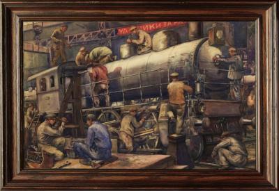 Рисунок «Паровозный завод. Ярославская железная дорога»