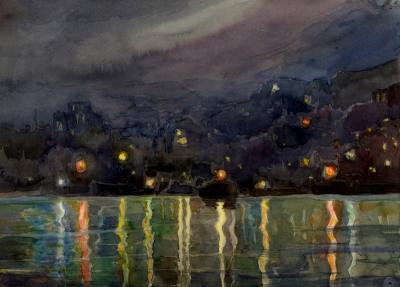 Рисунок «Ночь. Приморский город»