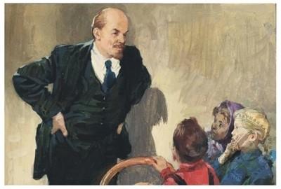Оригинал кадра для диафильма «Ленин у ребят на елке» по рассказу Кононова А.Т.