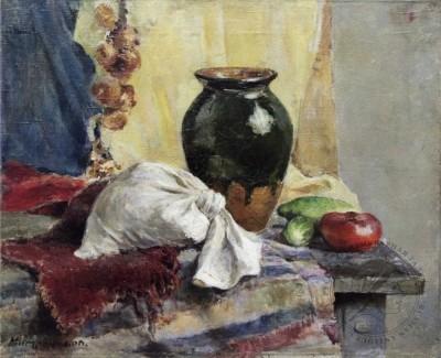 Натюрморт «Крынка с огурцами и помидором»