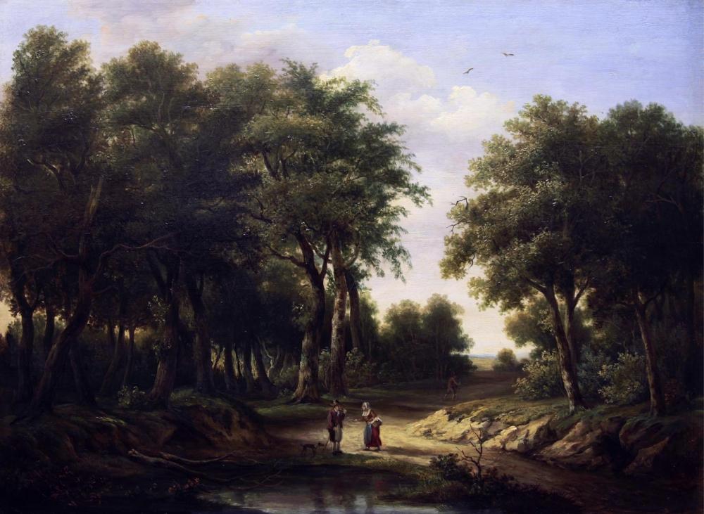 Старинная картина «Лесной пейзаж»