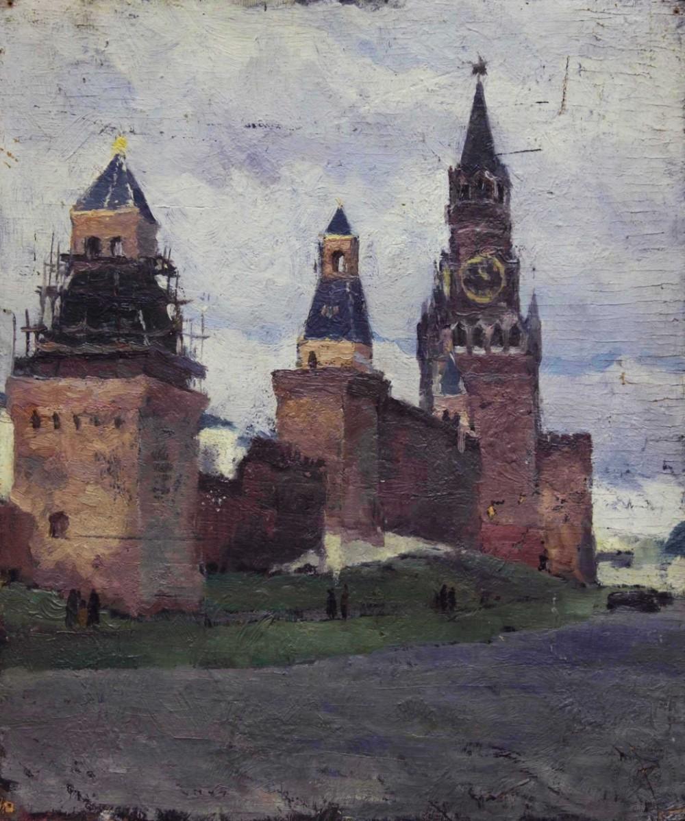 Картина «Спасская башня кремля»