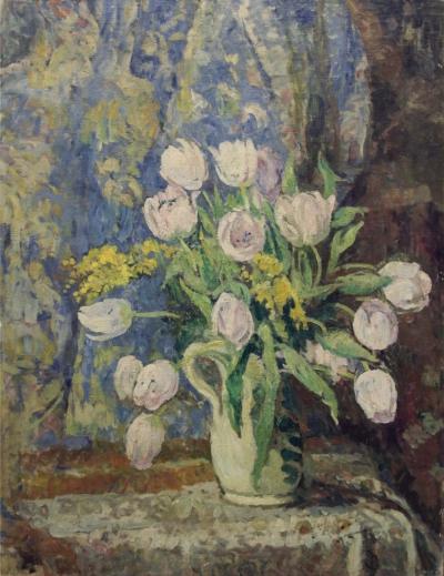 Старинная картина «Тюльпаны»