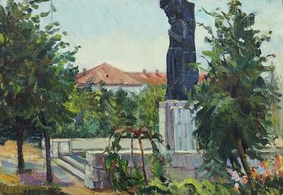 Картина «Летний день. Площадь у памятника»