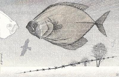 Темпера «Рыба в недвижном полете»