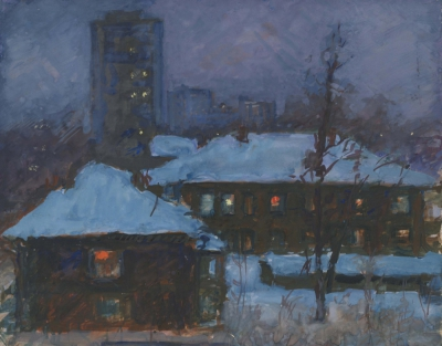 гуашь Зимняя ночь художницы Магидсон