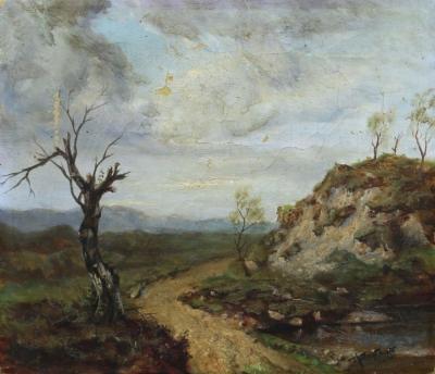 """Картина """"Пейзаж с деревом на обочине дороги"""" купить в антикварном магазине в Москве"""