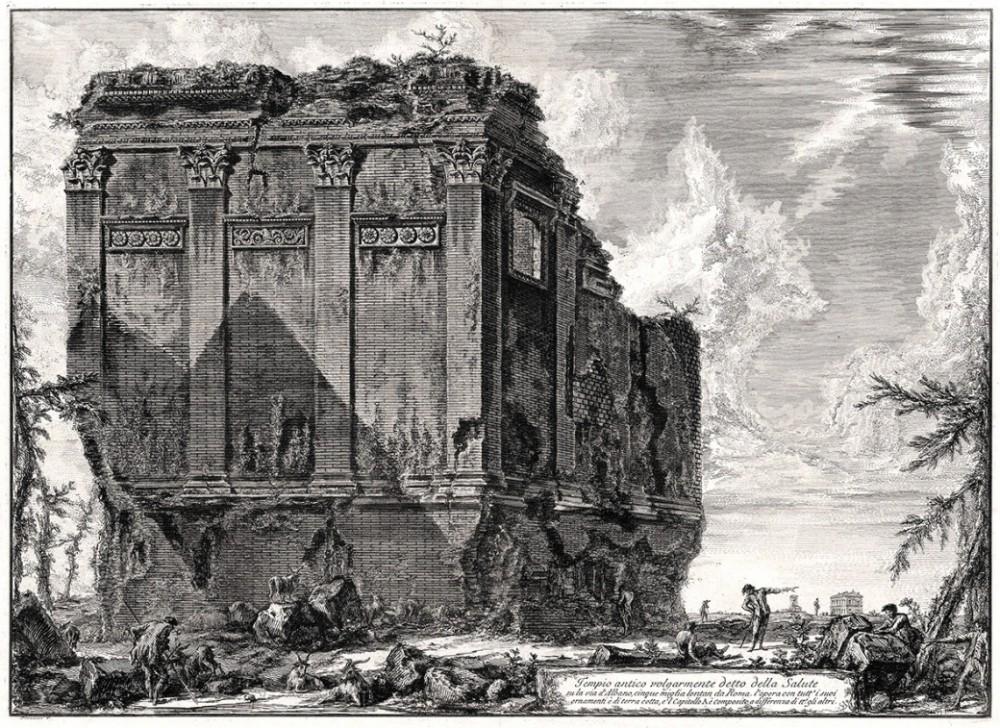 Гравюра «Античный храм, в просторечии именуемый Салюте, у дороги в Альбано в пяти милях от Рима»