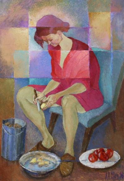 Картина «Чистит картошку»