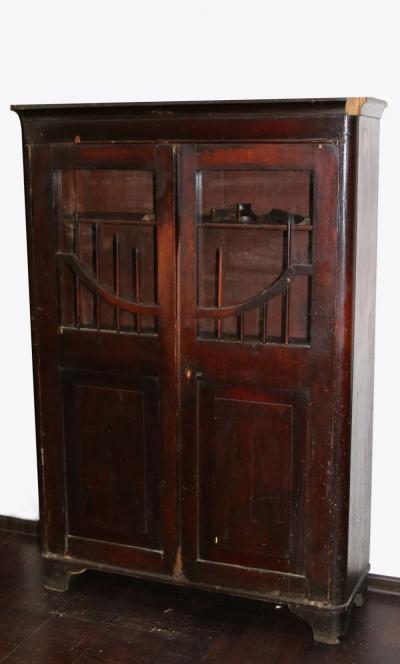 Книжный двустворчатый шкаф красного дерева в стиле Ампир