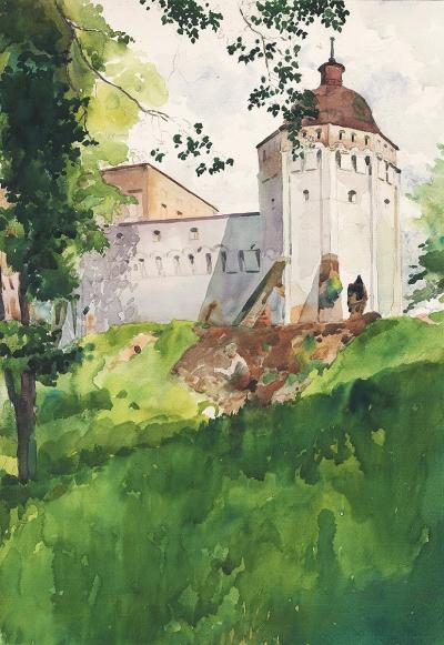 Рисунок «Звенигород. Башня Саввинского монастыря»