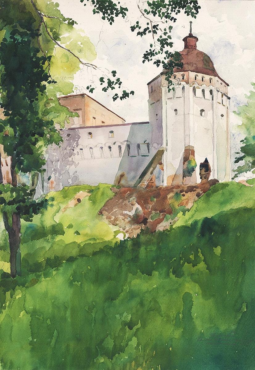 Акварель «Звенигород. Башня Саввинского монастыря»