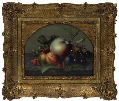 Натюрморт с абрикосами и черешней