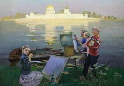 Картина «Юные художники у стен Ипатьевского монастыря в Костроме»