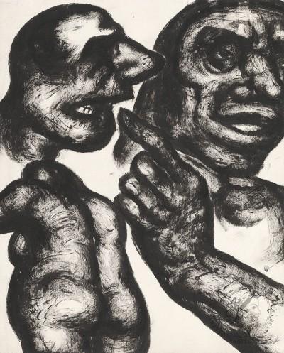 Рисунок «Композиция с женской фигурой и мужскими лицами»