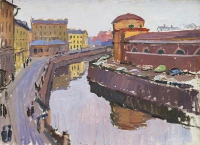 Картина «Вид на набережную реки Мойки в Ленинграде»