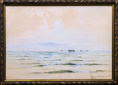Морской пейзаж с рыбаками