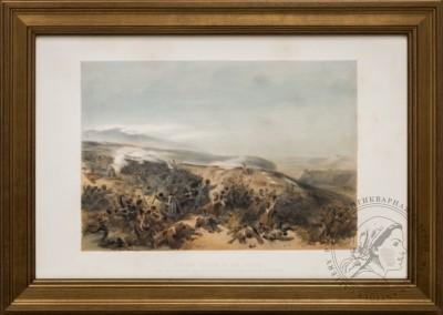 Литография «Вторая атака гвардейцев при переброске артиллерийской батареи битвы при Инкермане»