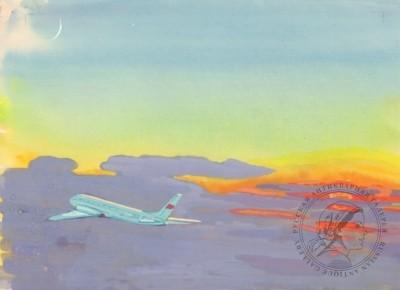 акварель самолет в небе
