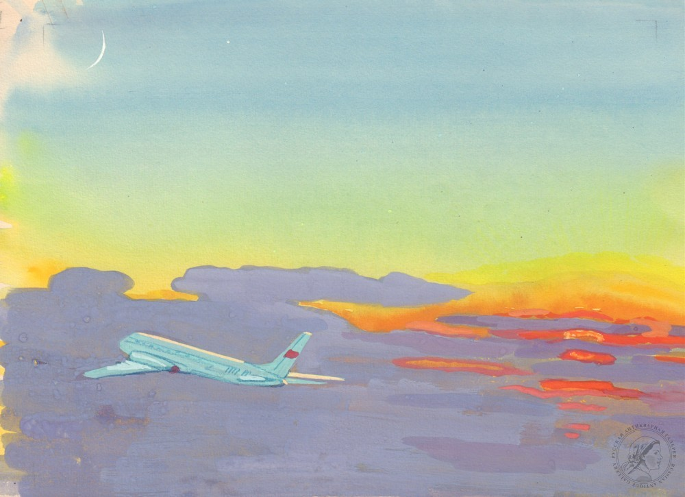 Акварель «Самолет в небе»