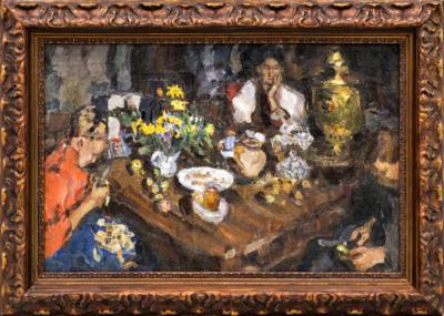 Картина старинная «За столом»