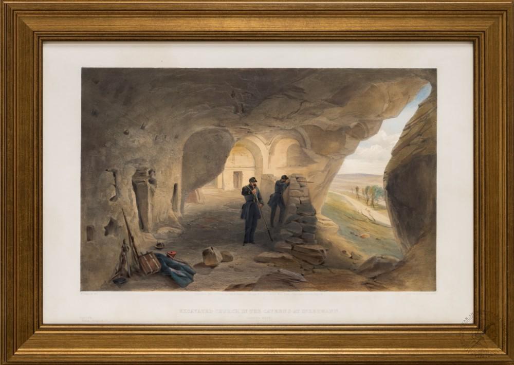 Литография «Раскопанная церковь в пещерах Инкермана. Вид на запад»