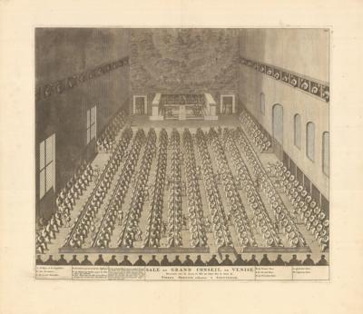 Гравюра Зал Большого Cовета в Венеции