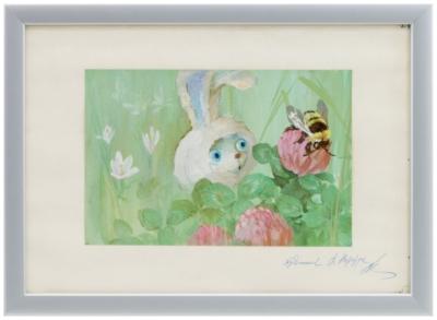 Иллюстрация «Зайчонок и шмель»