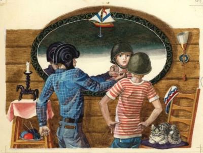 Иллюстрация «Перед зеркалом» к книге Митяева А.В. «Из дневника Вовика Башмакова»