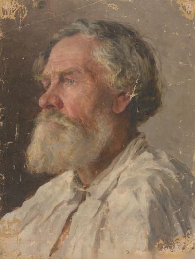 Портрет пожилого мужчины в белой рубахе