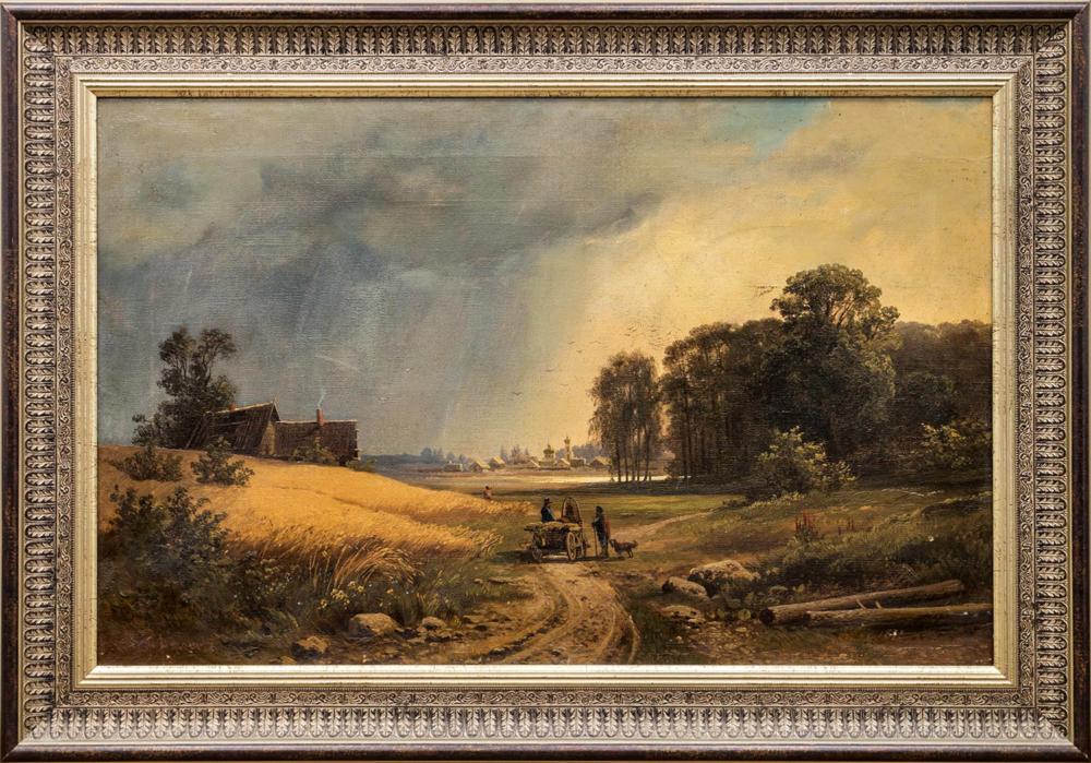 Картина «Пейзаж с телегой на дороге в город»