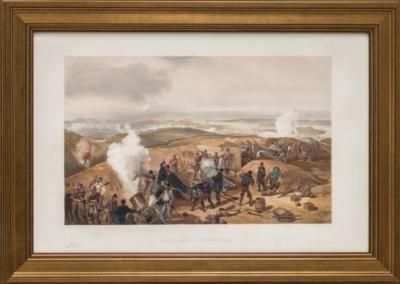 Литография «Английские мортиры ведут бомбардировку Севастополя, или горячий день на артиллерийской батарее»