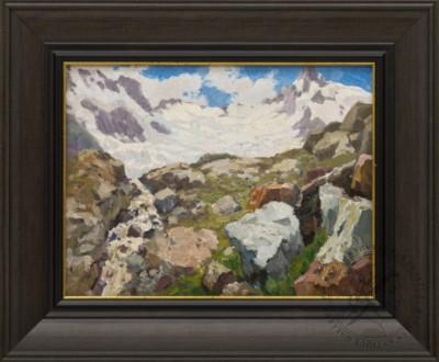 Картина «Река, вытекающая из ледника Алибек»