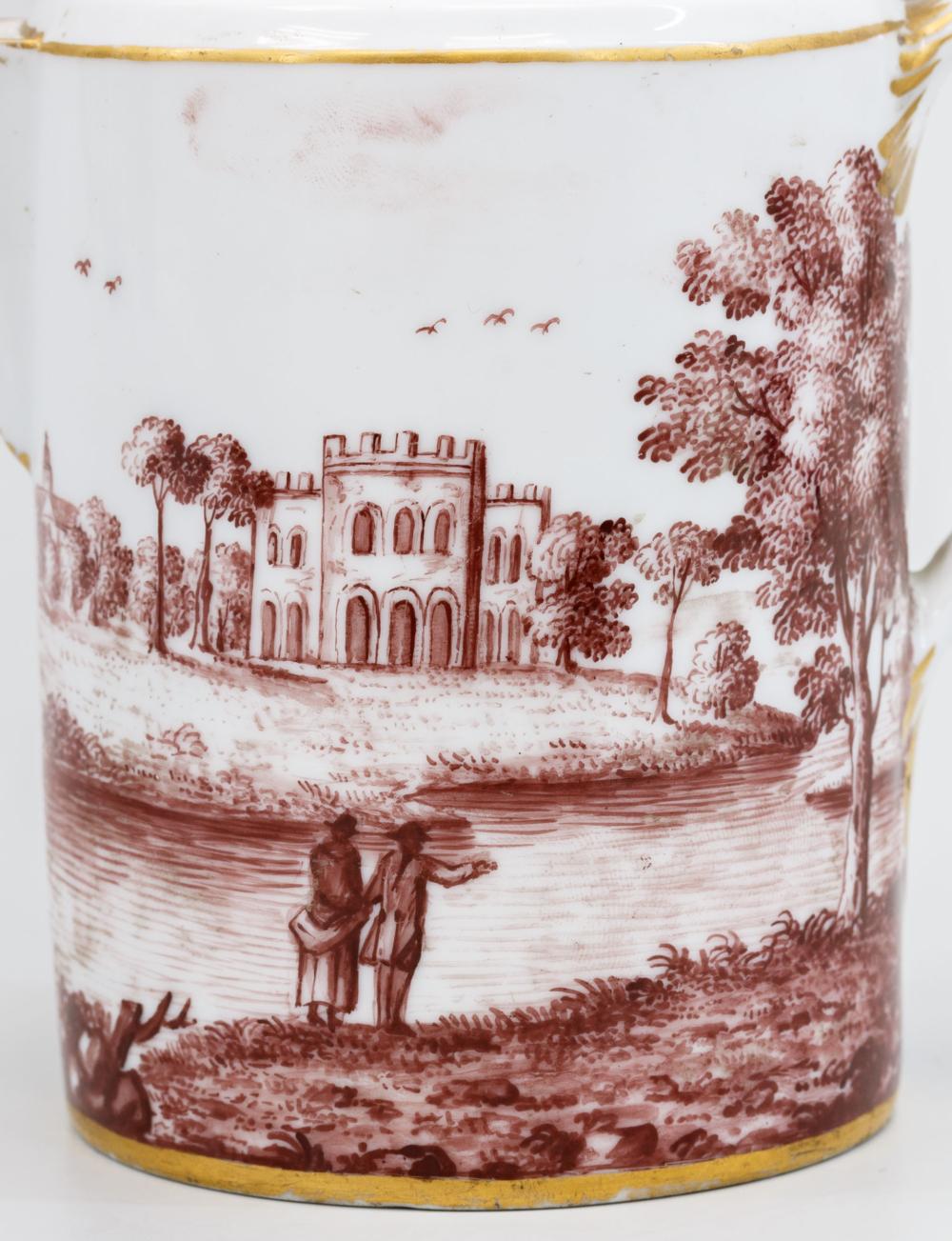 Молочник с пейзажем в технике гризайль