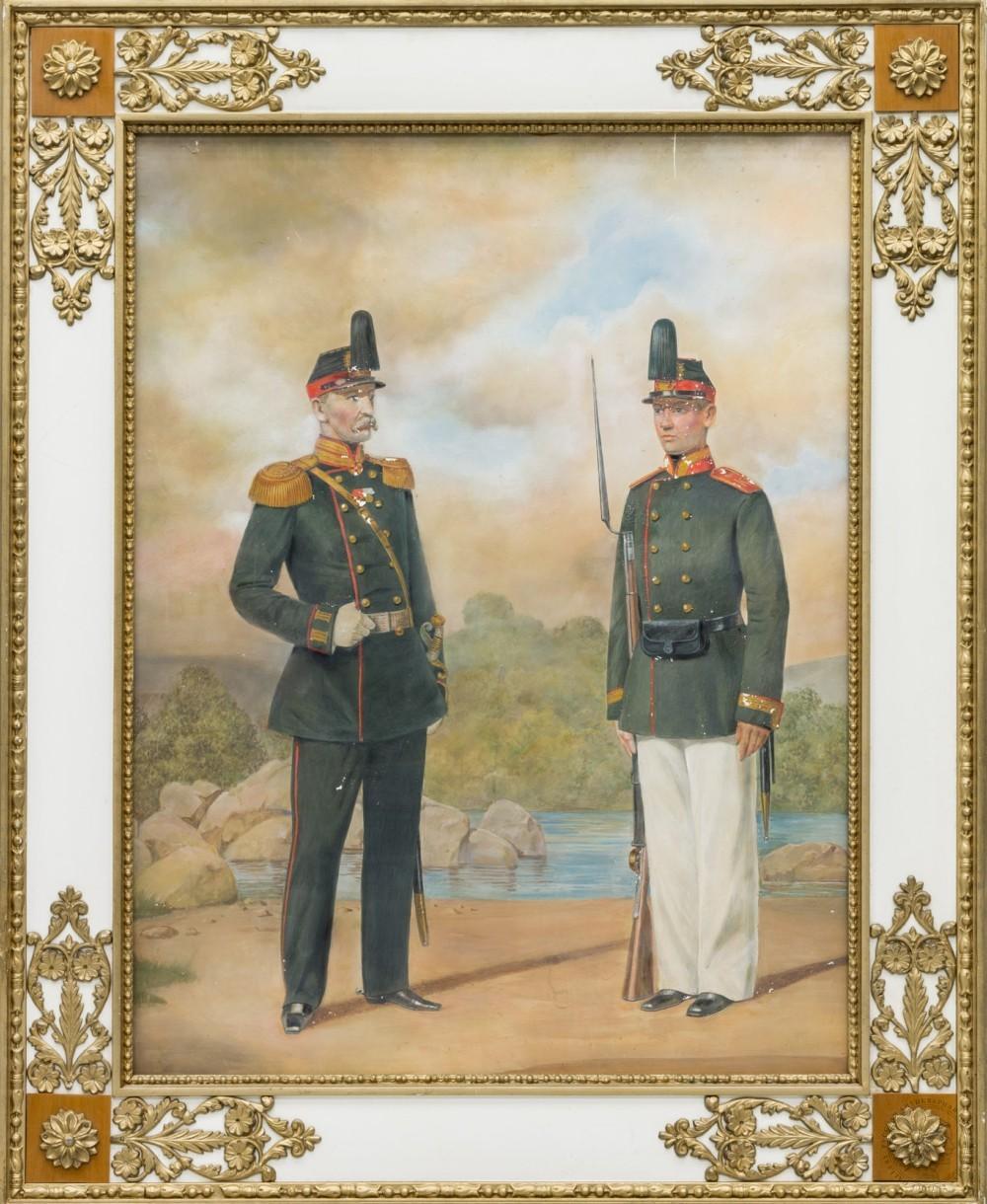 Рисунок с литографии «Обер-офицер резервных пехотных батальонов и рядовой крепостных полков»