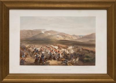 Литография «Атака бригады английской тяжёлой кавалерии во время первой фазы Балаклавского сражения»