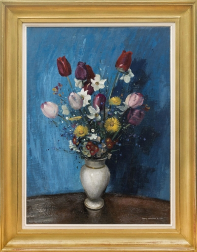 Картина «Натюрморт с тюльпанами на синем фоне»
