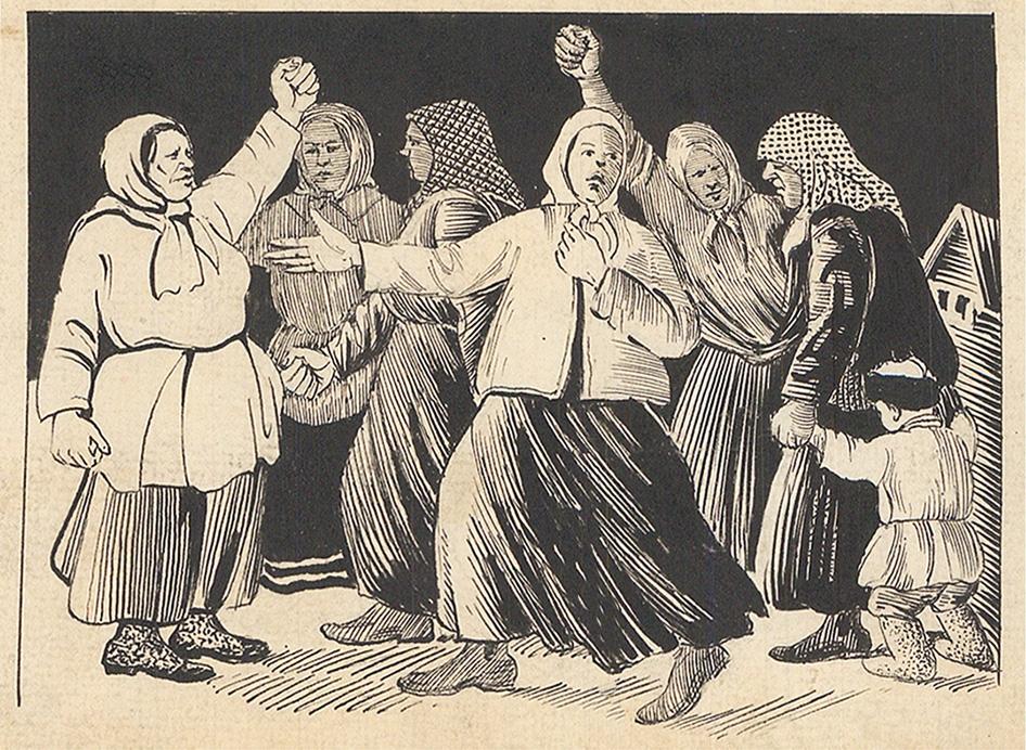 Рисунок «Бабий бунт». Иллюстрация к газете «Вятская Правда»