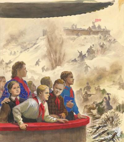 Рисунок «Пионеры у эскиза панорамы «Разгром немцев под Сталинградом»