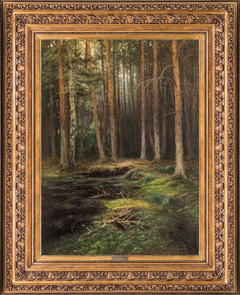 Антикварная картина «В сосновом Бору»