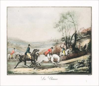 Цветная гравюра Охота Карл Верне