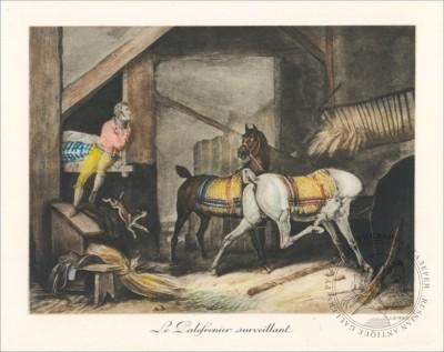 Цветная гравюра В конюшне Верне