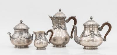 Чайно-кофейный серебряный сервиз в неоклассическом стиле, в коробке