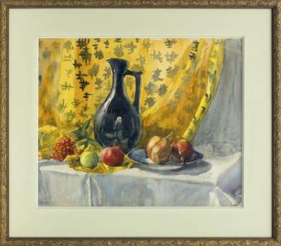Акварель «Натюрморт с кувшином и фруктами»