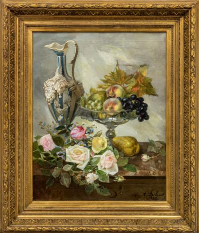 Debrus Натюрморт с фруктами, цветами и лепным кувшином