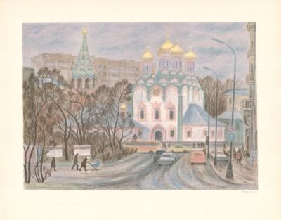 Литография «Храм Св. Николая в Хамовниках»