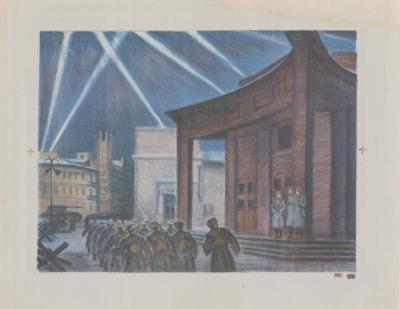 Литография «Солдаты у метро Арбатская»