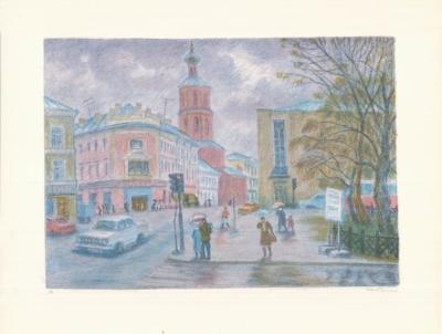 Литография «Угол Страстного бульвара и улицы Петровка»