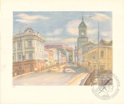 Литография «Вид на Пятницкую со стороны Чугунного моста»